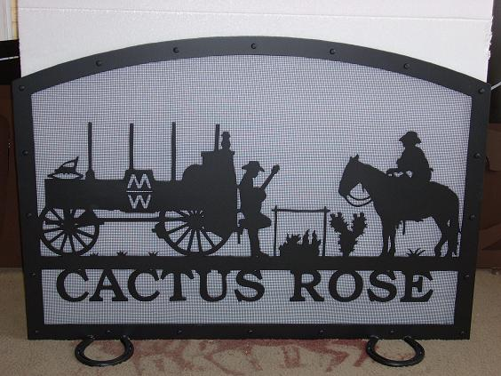 Cactus Rose - Custom Metal Fireplace Screen - Bulverde, TX
