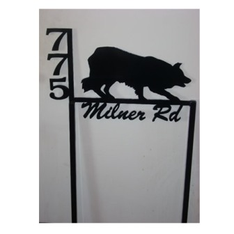 Custom Metal Address Sign - Collie dog - Fritch, TX
