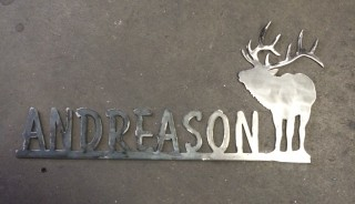 House name plate with bull elk