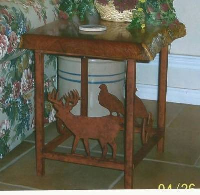 End table with mesquite top and metal art