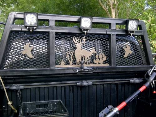Pickup truck headache rack customized with Torchcraft metal art